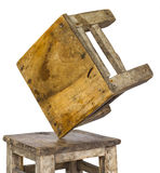 Small wooden chair unstable. Royalty Free Stock Photos