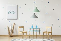 Free Small Wooden Chairs And Table Set For Kids And Mock-up Poster On Stock Photography - 123965682