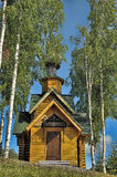 A small wooden chapel. Small wooden church Syandemsky Dormition Monastery, Karelia, Russia Stock Image