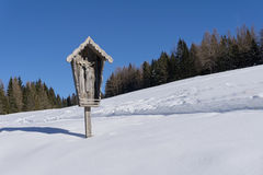 Small wooden chapel. In mountains Tyrol, Austria, Europe Royalty Free Stock Image