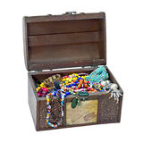 Small wooden chest with jewelry Stock Images