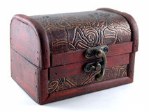 Small wooden chest with latch Royalty Free Stock Photography