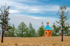 Small wooden  church. Small wooden church  in forest Stock Photo