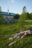 Small wooden church at Sergeevo, Palekh, Vladimir region, Russia Stock Images