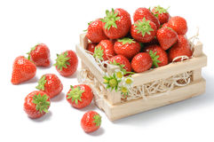Small wooden crate with strawberries Stock Images
