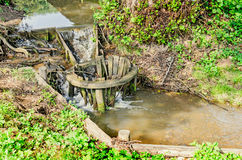 Small wooden dam on mountain river, forest and green grass Stock Images
