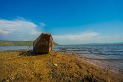 Wood boat on the coast Royalty Free Stock Images