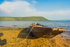 Wood boat on the coast Stock Photo