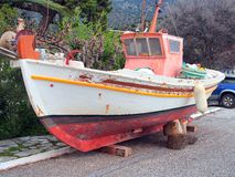 Small Greek Wooden Fishing Boat Royalty Free Stock Image