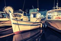 Small wooden fishing boats, Ajaccio, Night Stock Image