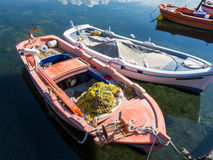 Small Wooden Fishing Boats, Greece Stock Photo