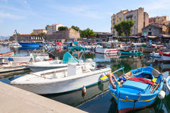 Small wooden fishing boats moored in Ajaccio Royalty Free Stock Image