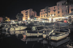 Small wooden fishing boats moored in Ajaccio Stock Image