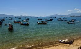 Small wooden fishing boats in the South China Sea, Vietnam Royalty Free Stock Photo