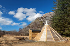 Small wooden free for use camping house Stock Photo