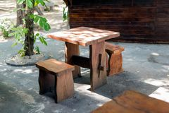 Small wooden table royalty free stock image