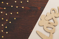 Small wooden hearts Royalty Free Stock Image