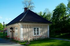 Small wooden house. Small, wooden house at Baerums Verk in Norway Royalty Free Stock Images