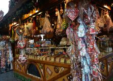 Small wooden house with Christmas sweets, Coburg, Germany stock images