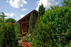 Small wooden house and the garden Stock Images