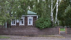 Small wooden house in russian village Royalty Free Stock Photo