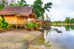 Small wooden houses at the jungle Royalty Free Stock Images