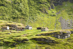 Small wooden houses in the Norwegian mountains.  Royalty Free Stock Photography