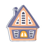 Small Wooden Hut In Blue And Pink Color, Cute Fairy Tale City Landscape Element Outlined Cartoon Illustration Royalty Free Stock Photo
