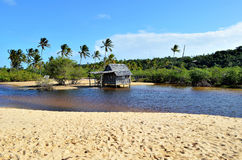 Small wooden hut. On a Brazilian coast beach surrounded by the small river bank in Trancoso in the city of Porto Seguro, Bahia, Brazil Stock Photography