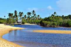 Small wooden hut. On a Brazilian coast beach surrounded by the small river bank in Trancoso in the city of Porto Seguro, Bahia, Brazil Royalty Free Stock Image