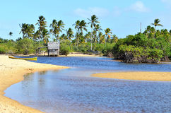 Small wooden hut. On a Brazilian coast beach surrounded by the small river bank in Trancoso in the city of Porto Seguro, Bahia, Brazil Stock Image