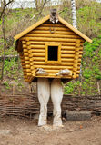 Small wooden hut on chicken legs. Gorodets is the oldest city in the Nizhny Novgorod region, the center of folk art and museum city Stock Images