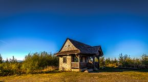 Small wooden hut in Jeseniky stock photo