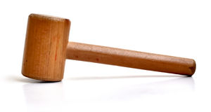 Small wooden mallet. A small toy mallet made out of wood Stock Images