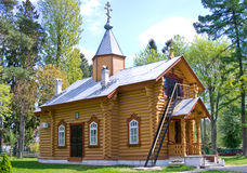 Small wooden orthodox church Stock Images