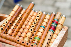 Small wooden penny trumpets on sale. wooden reed Royalty Free Stock Images