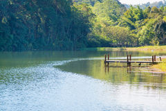 Small wooden pier on lake. In summer Stock Photo