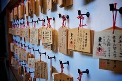 Small wooden plaques with prayers. And wishes at the Todaiji shrine in nara, japan Royalty Free Stock Images