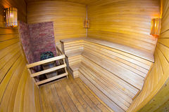 Small wooden room in sauna Royalty Free Stock Images