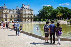 Small wooden sailing boats in the pond, Luxembourg Gardens, Pari Stock Photography