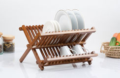 Small wooden shelf Stock Image