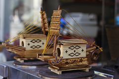 Small wooden ships. Two small handmade souvenir ships Stock Photography