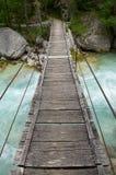 Small wooden,suspension bridge Royalty Free Stock Photo
