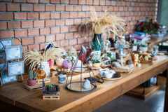 Small wooden table decorations royalty free stock photos