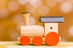 Small wooden toy train Stock Photo