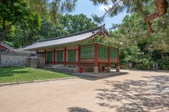Small wooden traditional pavilion at the Jongmyo shrine, Seoul royalty free stock images