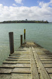 Small Wooden Wharf at Bayswater Auckland New Zealand. Fishing spot Royalty Free Stock Image