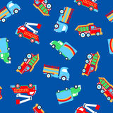 Small work trucks. Small work trucks seamless pattern on a blue background Stock Images