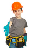 Small worker boy give hand shake Stock Image