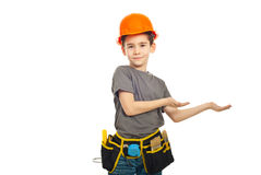 Small worker boy making presentation Stock Image